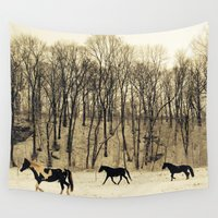 horses Wall Tapestries featuring horses by cOnNymArshAuS