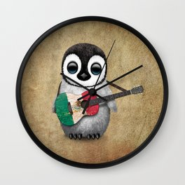 Baby Penguin Playing Mexican Flag Guitar Wall Clock