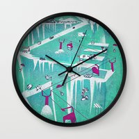 penguins Wall Clocks featuring Penguins by Spires