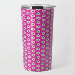 Hot Pink Plaid Mint Green Flower Travel Mug