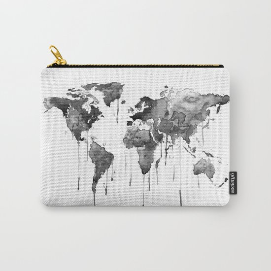 World map 2, black and white Carry-All Pouch