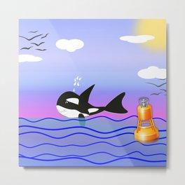 Happy Orca in the Ocean Metal Print