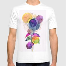 Sunflower Abstract White Mens Fitted Tee MEDIUM