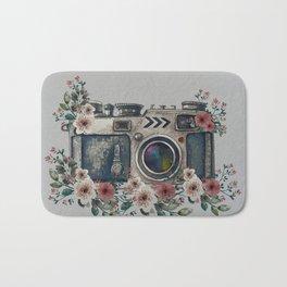 Camera with Summer Flowers Bath Mat