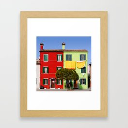 Burano cityscape, green and red houses Framed Art Print