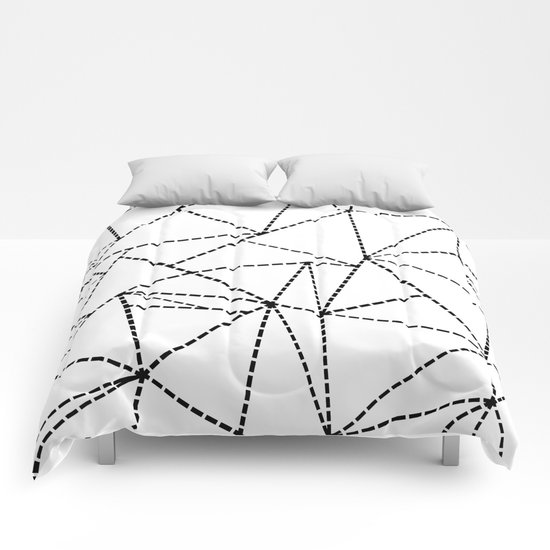 Abstract Dotted Lines Black and White Comforters
