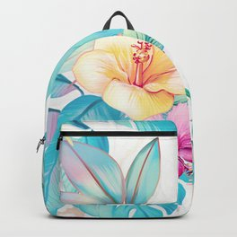 Blue tropical flowers Backpack