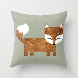 Box Fox Throw Pillow