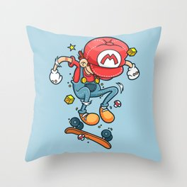 Skate Mario Throw Pillow