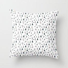 Ski Print Throw Pillow