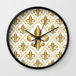 Gold Fleur-de-Lis Pattern Wall Clock