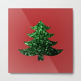 Sparkly Christmas tree green sparkles on red Metal Print