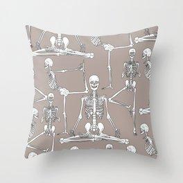 Skeleton Yoga Grey Throw Pillow
