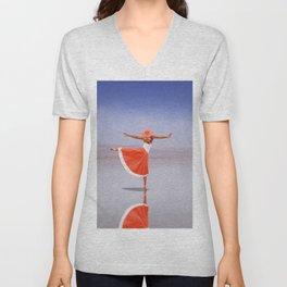 Ballerina Dancing On The Beach Unisex V-Neck