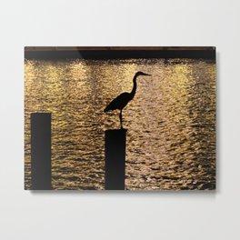 Heron Silouette Metal Print