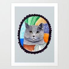 KITTY / GREY Art Print