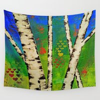 birch Wall Tapestries featuring Blue Birch by BeachStudio