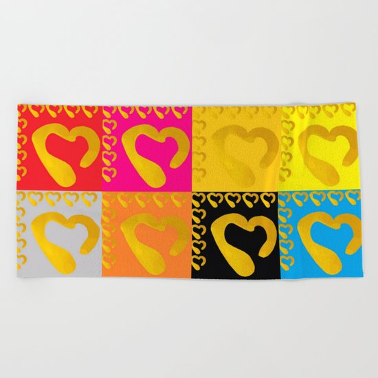 Gold Hearts on colorful Stamp Beach Towel