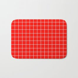 Candy apple red - red color - White Lines Grid Pattern Bath Mat