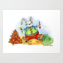 Funny rabbit with a carrot. Watercolor illustration Art Print