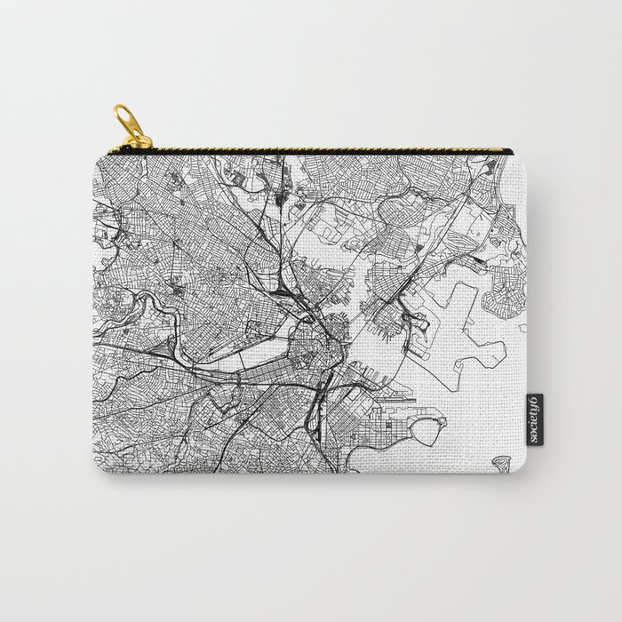 Boston White Map Carry-All Pouch
