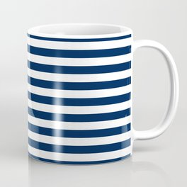 Slate blue and White Thin Stripes - Navy Nautical Pattern Coffee Mug
