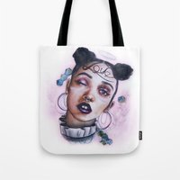 fka twigs Tote Bags featuring Twigs by Sam Crescenzo