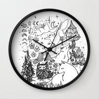 wolves Wall Clocks featuring Wolves by Monique Turchan