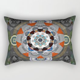 Tibetan Earth Root Chakra Medallion Mandala Rectangular Pillow