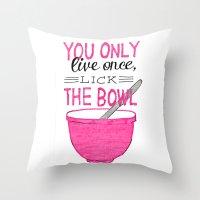 yolo Throw Pillows featuring YOLO by Rachel Butler