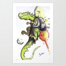 Dinosaur wearing Jetpack Art Print