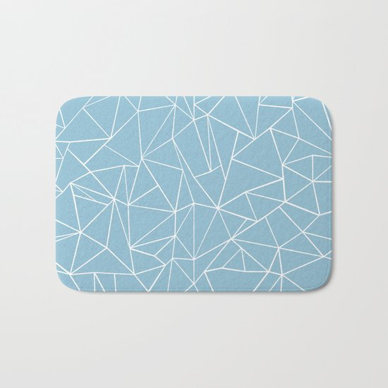 Abstraction Outline Sky Blue Bath Mat