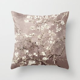 Van Gogh Almond Blossoms Beige Taupe Throw Pillow