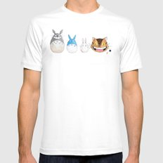 Make the Unlikeliest of Friends, Wherever You Go MEDIUM Mens Fitted Tee White