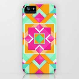 Geometric Tribal Mandala Inspired Modern Trendy Vibrant (Mint Green, Maroon, Wine, Hot Pink, Orange) iPhone Case