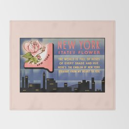 New York state flower vintage greetings from Throw Blanket