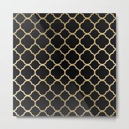 Elegant geometrical black faux gold quatrefoil Metal Print