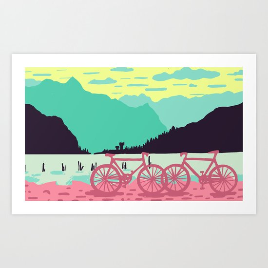 Bicycles on the lake by susanbakingdesign