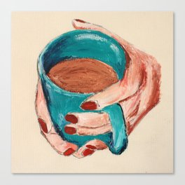 Hands Around A Coffee Mug Original  Canvas Print