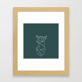 Geometric Doe (White on Slate) Framed Art Print