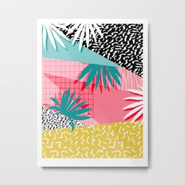 Bingo - throwback retro memphis neon tropical socal desert festival trendy hipster pattern pop art Metal Print