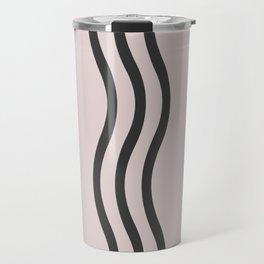 Pastel Pink Black  Waves Travel Mug