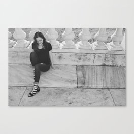 The Girl In The Marble Garden Canvas Print