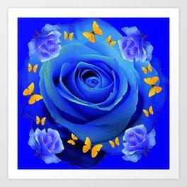 FLUTTERING YELLOW BUTTERFLIES BLUE ROSE FANTASY ART Art Print