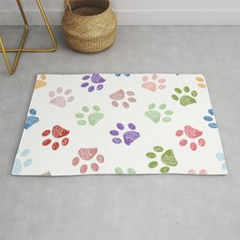 Doodle colorful paw print seamless fabric design repeated pattern background Rug