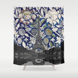 Eiffel Tower Paris Meets Floral Hand Drawn Illustration Montage Design Shower Curtain