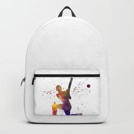 Cricket player batsman silhouette 08 Backpack