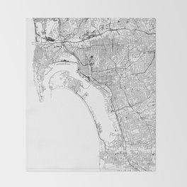 San Diego White Map Throw Blanket