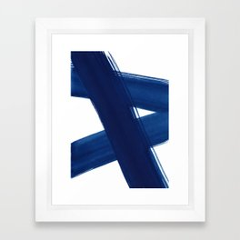 Indigo Abstract Brush Strokes | No. 4 Framed Art Print