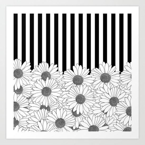 Daisy Stripe Art Print